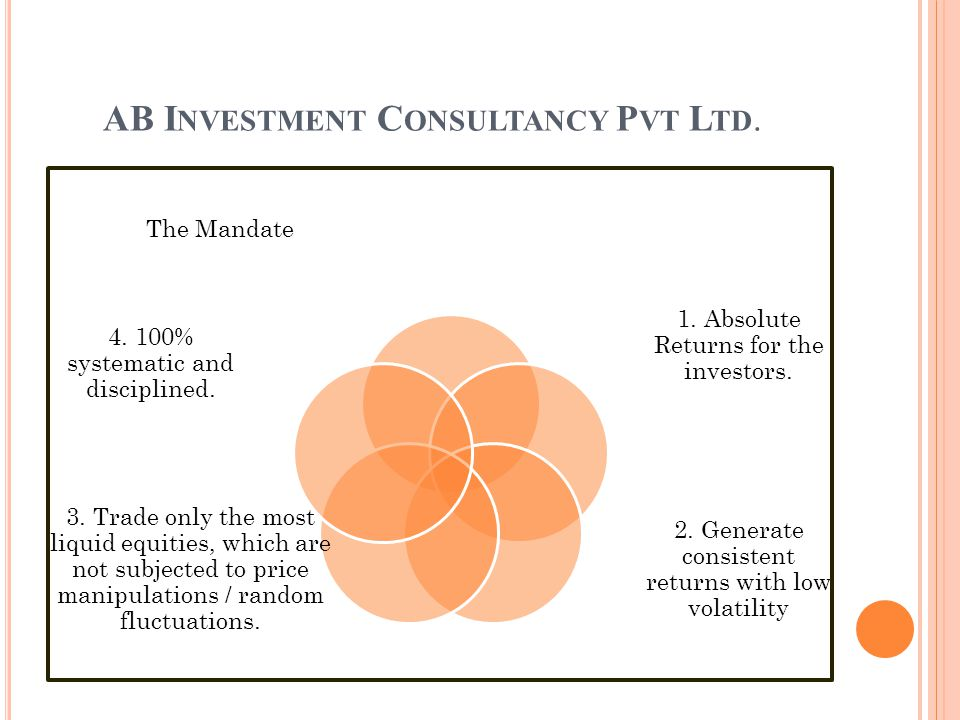 AB I NVESTMENT C ONSULTANCY P VT L TD. 1. Absolute Returns for the investors.