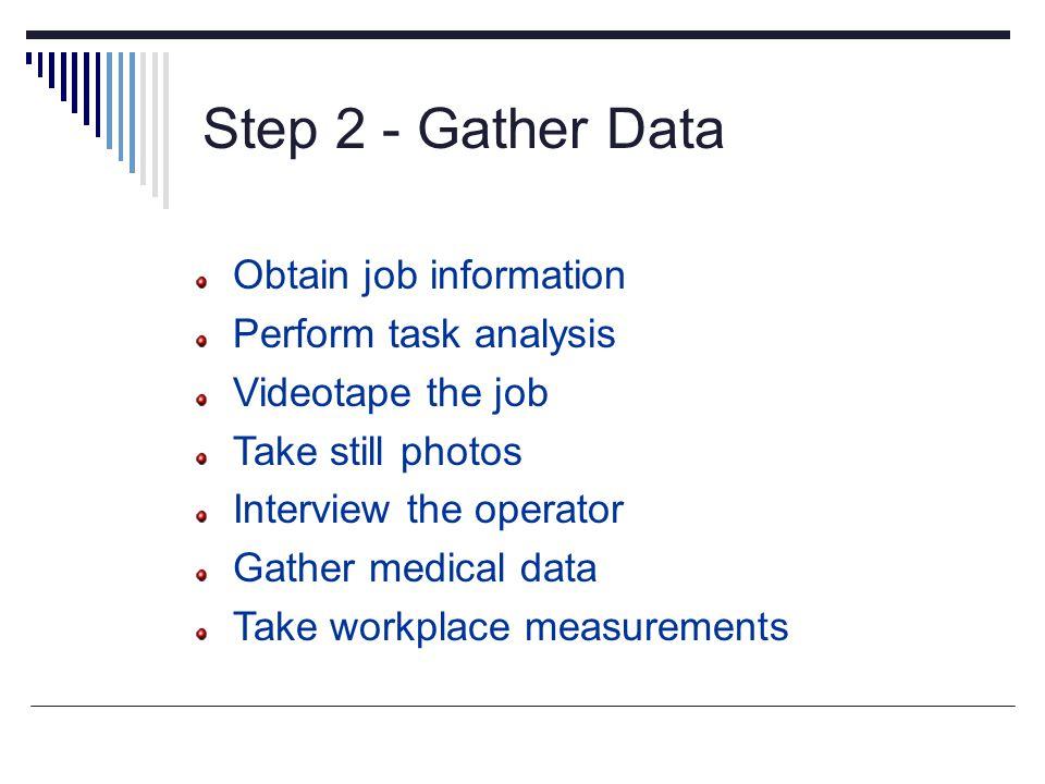 Step 2 - Gather Data Obtain job information Perform task analysis Videotape the job Take still photos Interview the operator Gather medical data Take
