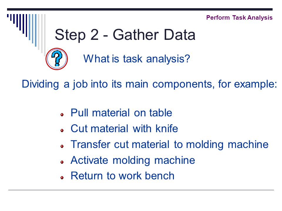 Step 2 - Gather Data Perform Task Analysis What is task analysis.