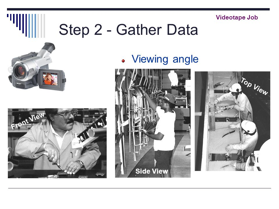 Step 2 - Gather Data Videotape Job Viewing angle Front View Side View Top View