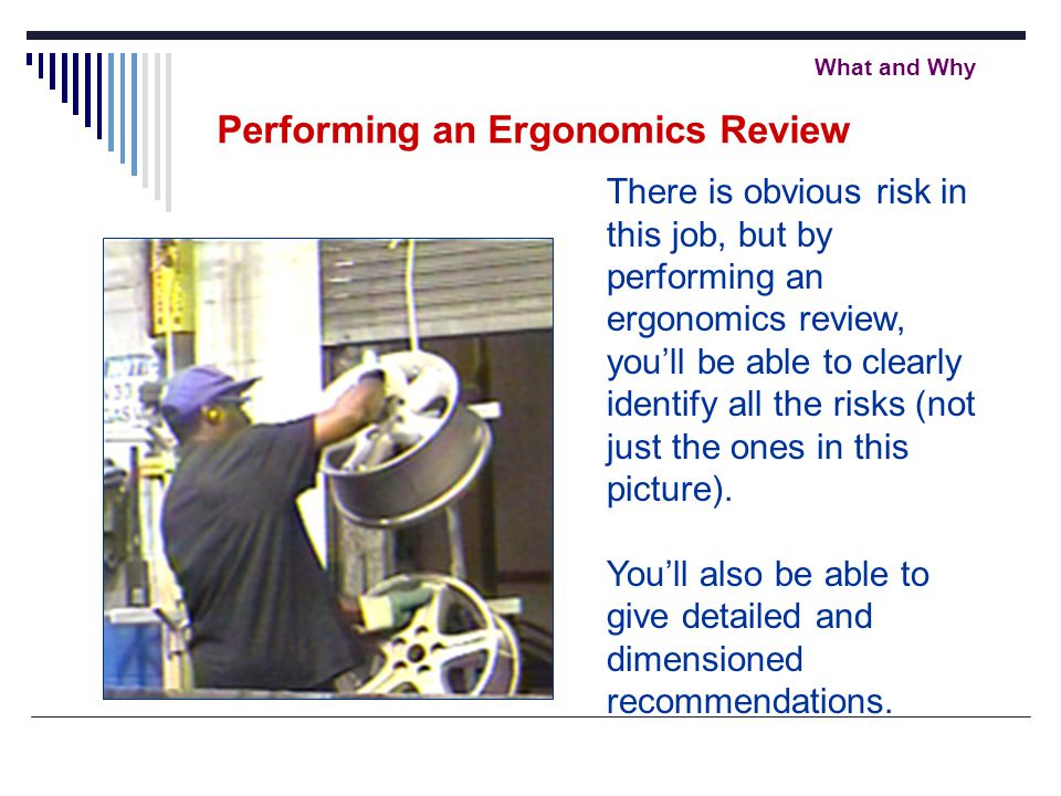 What and Why There is obvious risk in this job, but by performing an ergonomics review, you'll be able to clearly identify all the risks (not just the ones in this picture).