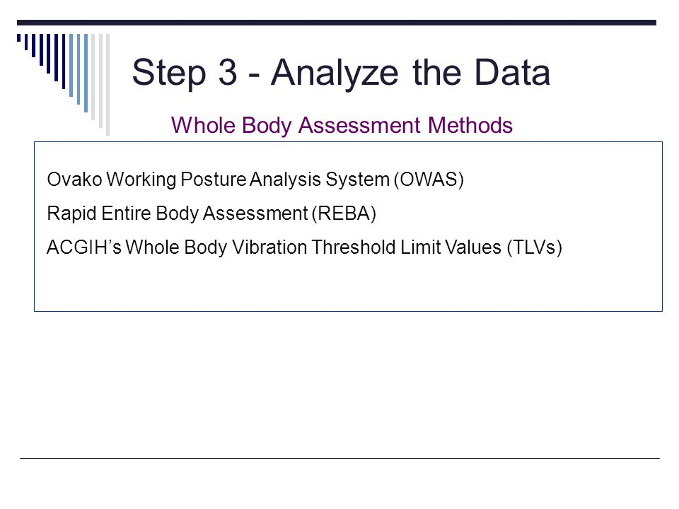Step 3 - Analyze the Data BRIEF and EASY Whole Body Assessment Methods Ovako Working Posture Analysis System (OWAS) Rapid Entire Body Assessment (REBA