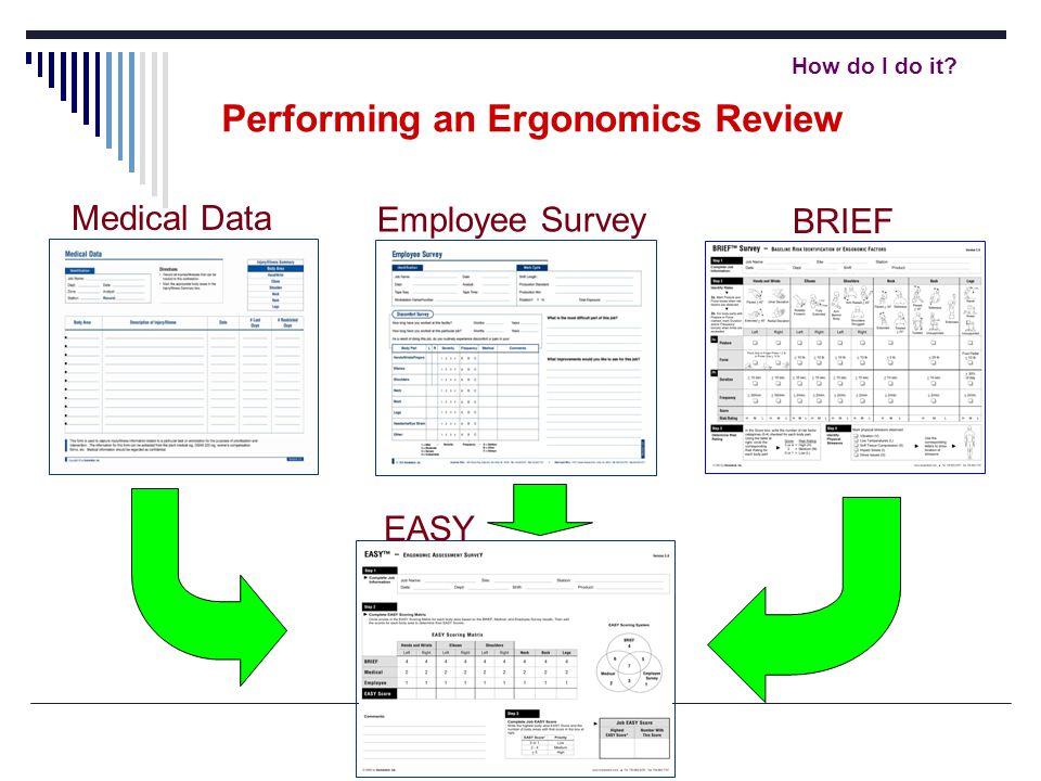 How do I do it? Performing an Ergonomics Review Medical Data Employee Survey EASY BRIEF