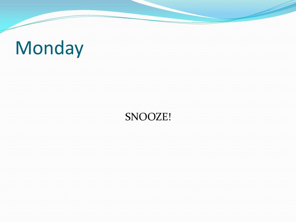 Monday SNOOZE!