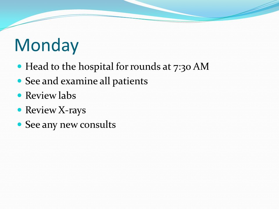Tuesday 3-8 surgeries per day Can be done by noon or rarely 7 P.M., usually around 4 P.M.