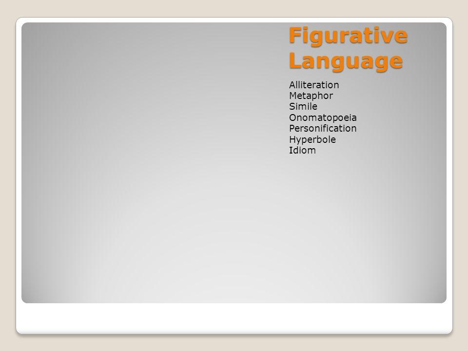 Figurative Language Alliteration Metaphor Simile Onomatopoeia Personification Hyperbole Idiom