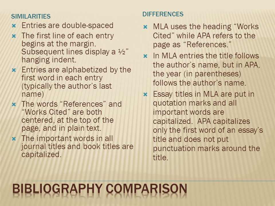 SIMILARITIES DIFFERENCES  Entries are double-spaced  The first line of each entry begins at the margin.