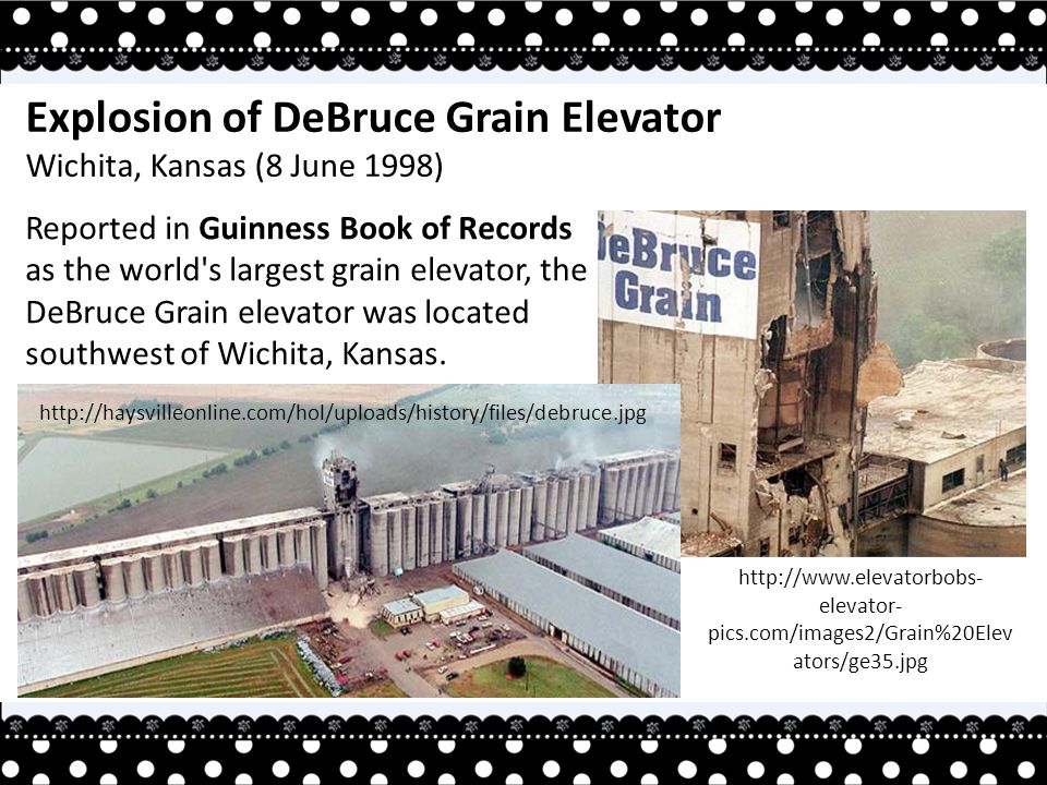 Reported in Guinness Book of Records as the world s largest grain elevator, the DeBruce Grain elevator was located southwest of Wichita, Kansas.