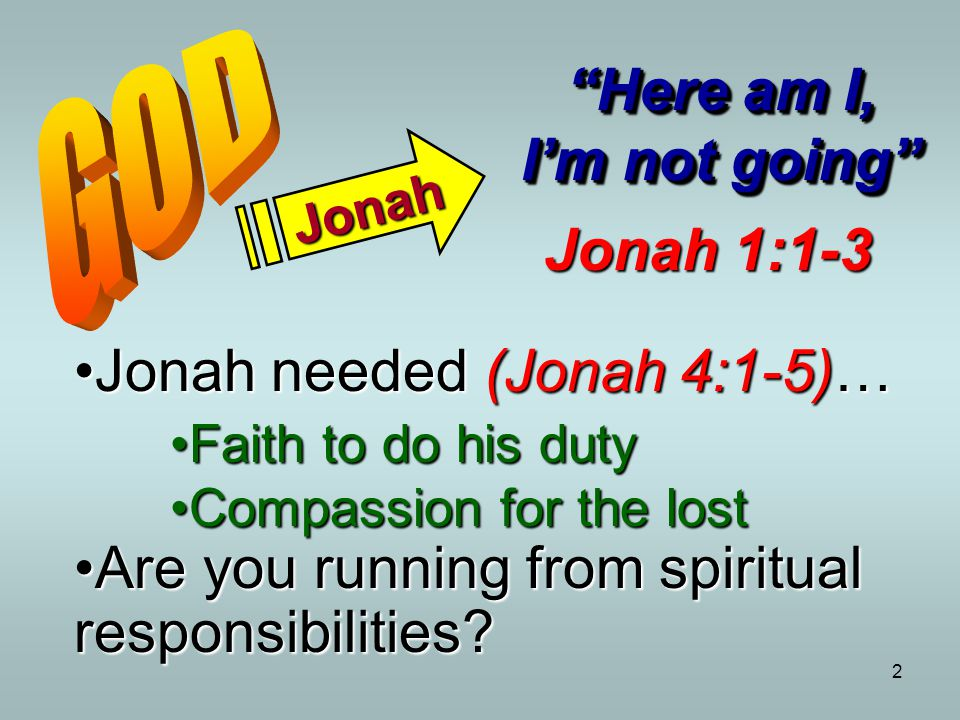 "2 Jonah ""Here am I, I'm not going"" Jonah 1:1-3 Jonah needed (Jonah 4:1-5)…Jonah needed (Jonah 4:1-5)… Faith to do his dutyFaith to do his duty Compass"