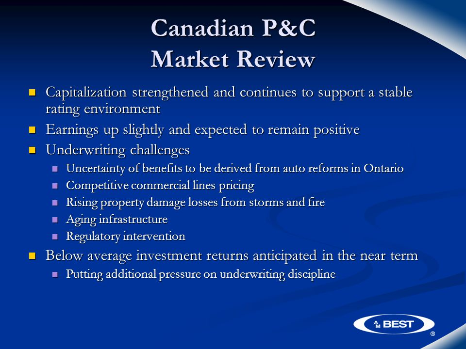 Canadian P&C Market Review Capitalization strengthened and continues to support a stable rating environment Capitalization strengthened and continues to support a stable rating environment Earnings up slightly and expected to remain positive Earnings up slightly and expected to remain positive Underwriting challenges Underwriting challenges Uncertainty of benefits to be derived from auto reforms in Ontario Uncertainty of benefits to be derived from auto reforms in Ontario Competitive commercial lines pricing Competitive commercial lines pricing Rising property damage losses from storms and fire Rising property damage losses from storms and fire Aging infrastructure Aging infrastructure Regulatory intervention Regulatory intervention Below average investment returns anticipated in the near term Below average investment returns anticipated in the near term Putting additional pressure on underwriting discipline Putting additional pressure on underwriting discipline