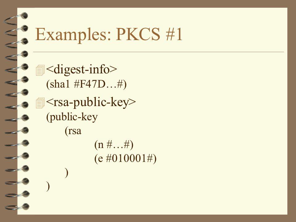 Examples: PKCS #1 4 (sha1 #F47D…#) 4 (public-key (rsa (n #…#) (e #010001#) ) )