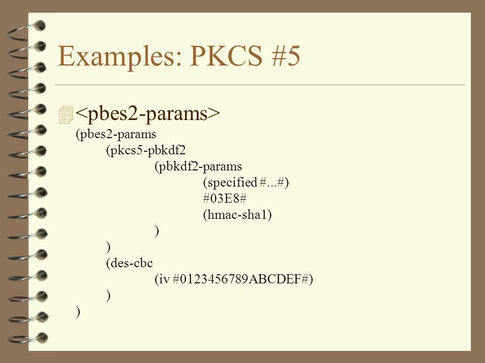 Examples: PKCS #5 4 (pbes2-params (pkcs5-pbkdf2 (pbkdf2-params (specified #...#) #03E8# (hmac-sha1) ) ) (des-cbc (iv #0123456789ABCDEF#) ) )