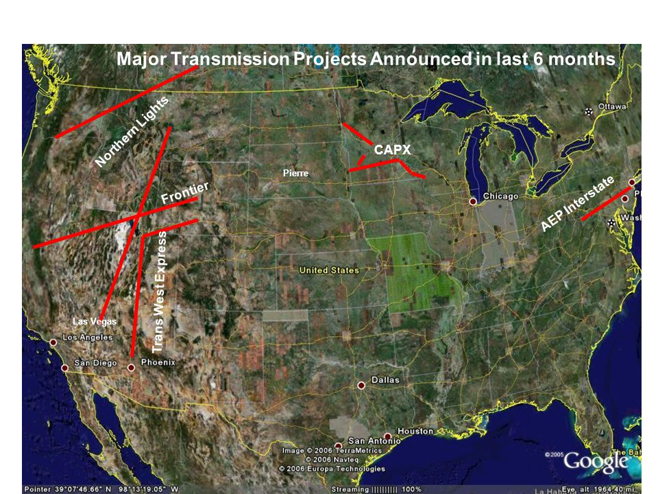 CAPX Pierre Las Vegas Northern Lights Frontier Trans West Express AEP Interstate Major Transmission Projects Announced in last 6 months