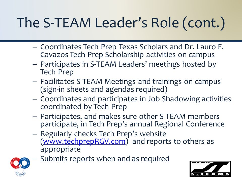 The S-TEAM Leader's Role (cont.) – Coordinates Tech Prep Texas Scholars and Dr.