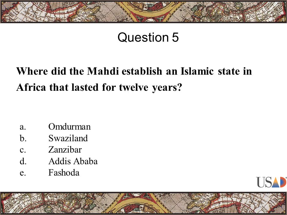 Where did the Mahdi establish an Islamic state in Africa that lasted for twelve years.