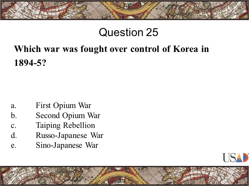 Which war was fought over control of Korea in 1894-5.