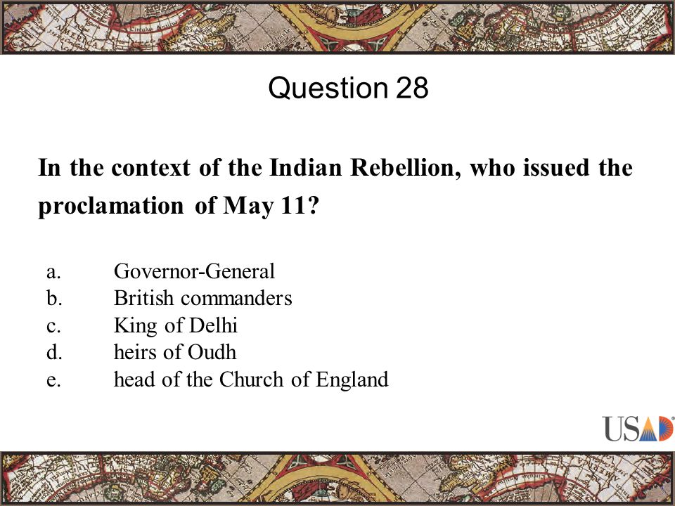 In the context of the Indian Rebellion, who issued the proclamation of May 11.