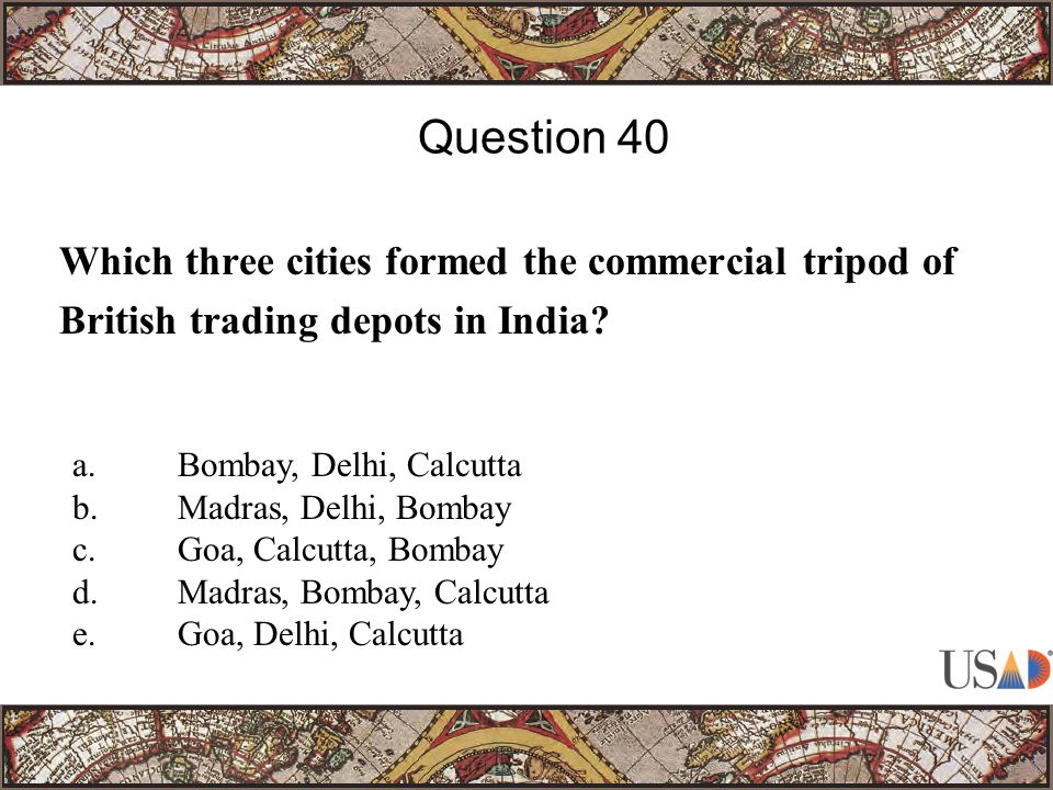 Which three cities formed the commercial tripod of British trading depots in India.