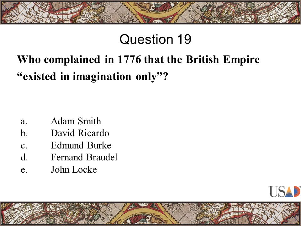 Who complained in 1776 that the British Empire existed in imagination only .