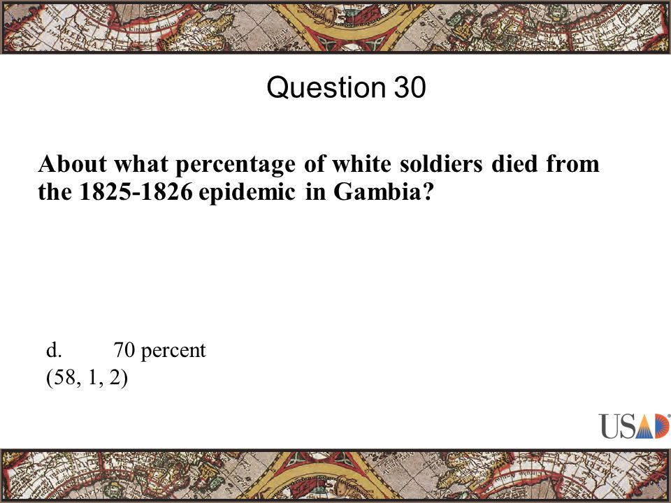 About what percentage of white soldiers died from the epidemic in Gambia.