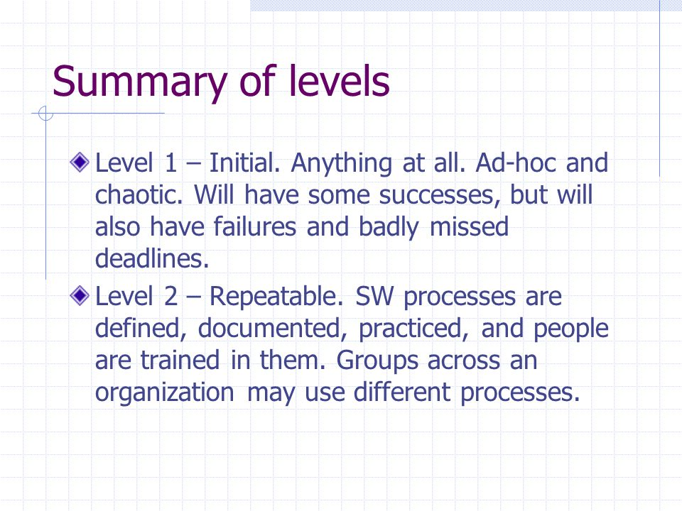 Summary of levels Level 1 – Initial. Anything at all. Ad-hoc and chaotic. Will have some successes, but will also have failures and badly missed deadl