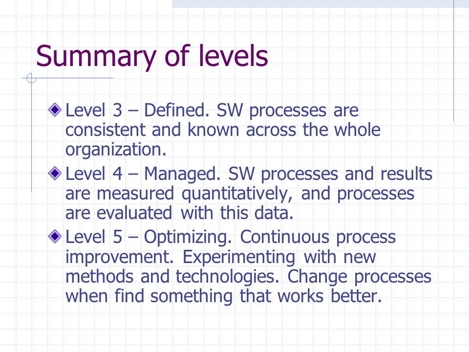 Summary of levels Level 3 – Defined. SW processes are consistent and known across the whole organization. Level 4 – Managed. SW processes and results