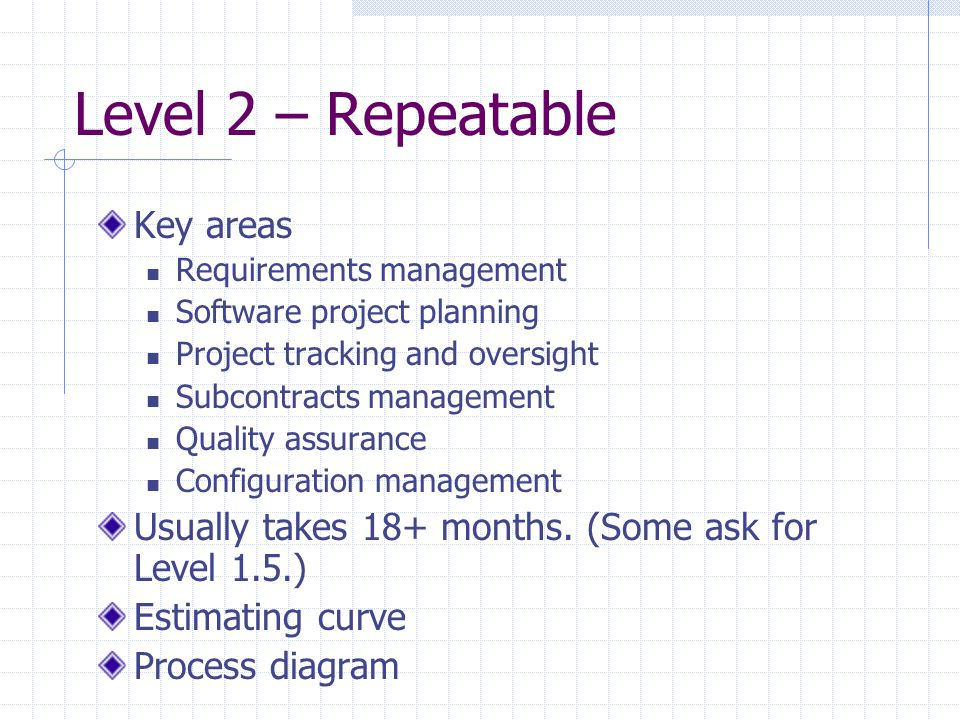 Level 2 – Repeatable Key areas Requirements management Software project planning Project tracking and oversight Subcontracts management Quality assura
