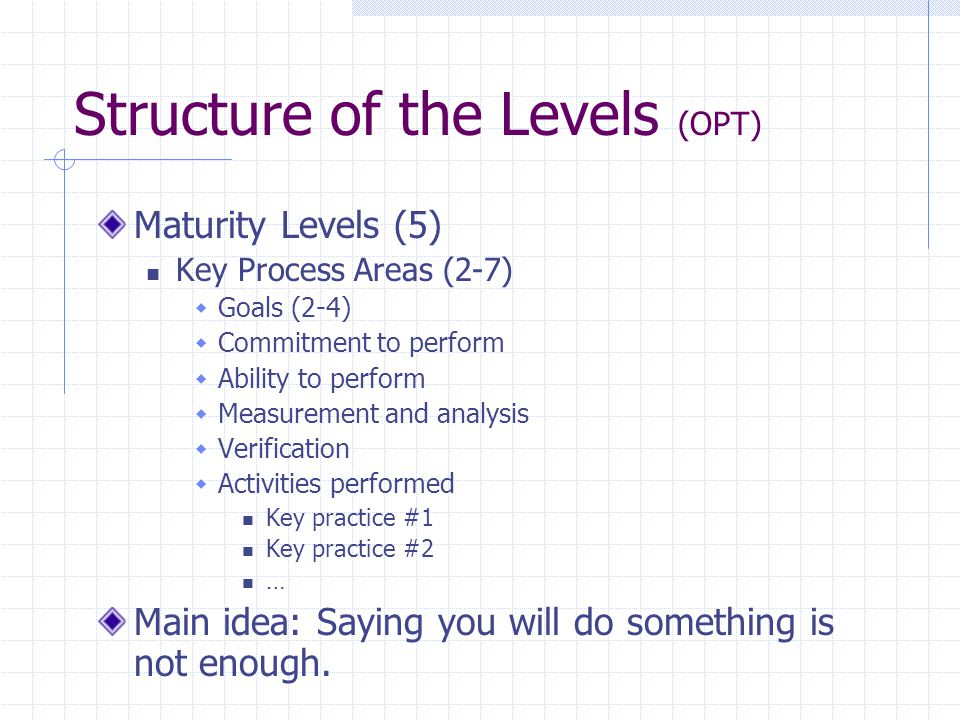 Structure of the Levels (OPT) Maturity Levels (5) Key Process Areas (2-7)  Goals (2-4)  Commitment to perform  Ability to perform  Measurement and