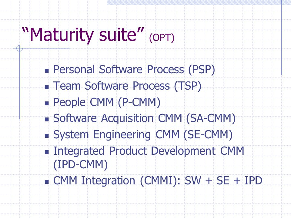 """Maturity suite"" (OPT) Personal Software Process (PSP) Team Software Process (TSP) People CMM (P-CMM) Software Acquisition CMM (SA-CMM) System Enginee"