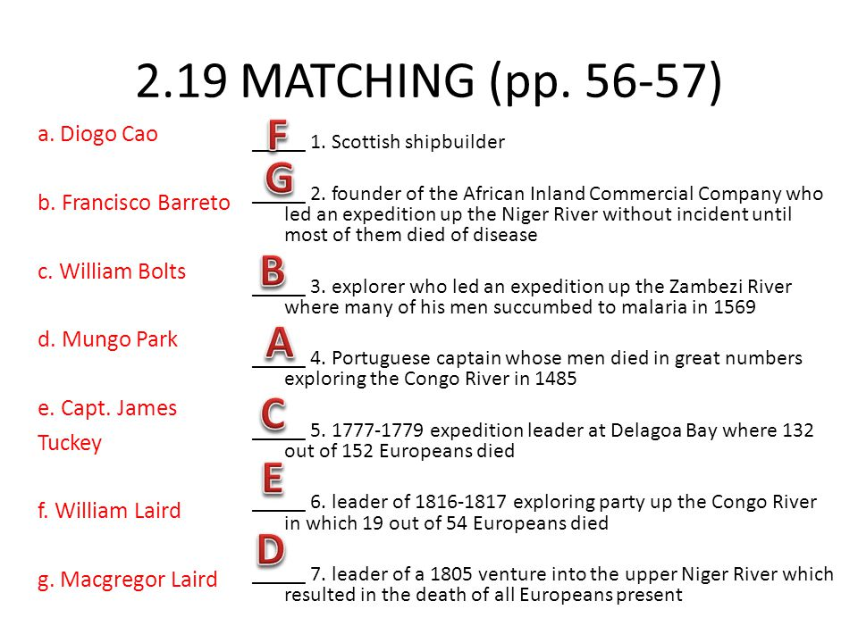 2.19 MATCHING (pp. 56-57) a. Diogo Cao b. Francisco Barreto c. William Bolts d. Mungo Park e. Capt. James Tuckey f. William Laird g. Macgregor Laird _