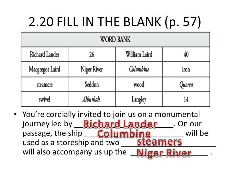 2.20 FILL IN THE BLANK (p. 57) You're cordially invited to join us on a monumental journey led by _______________________. On our passage, the ship __