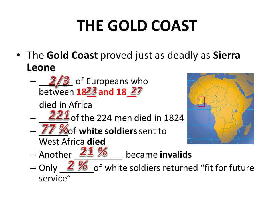 THE GOLD COAST The Gold Coast proved just as deadly as Sierra Leone – _______ of Europeans who arrived between 18__ and 18__ died in Africa – ______ o