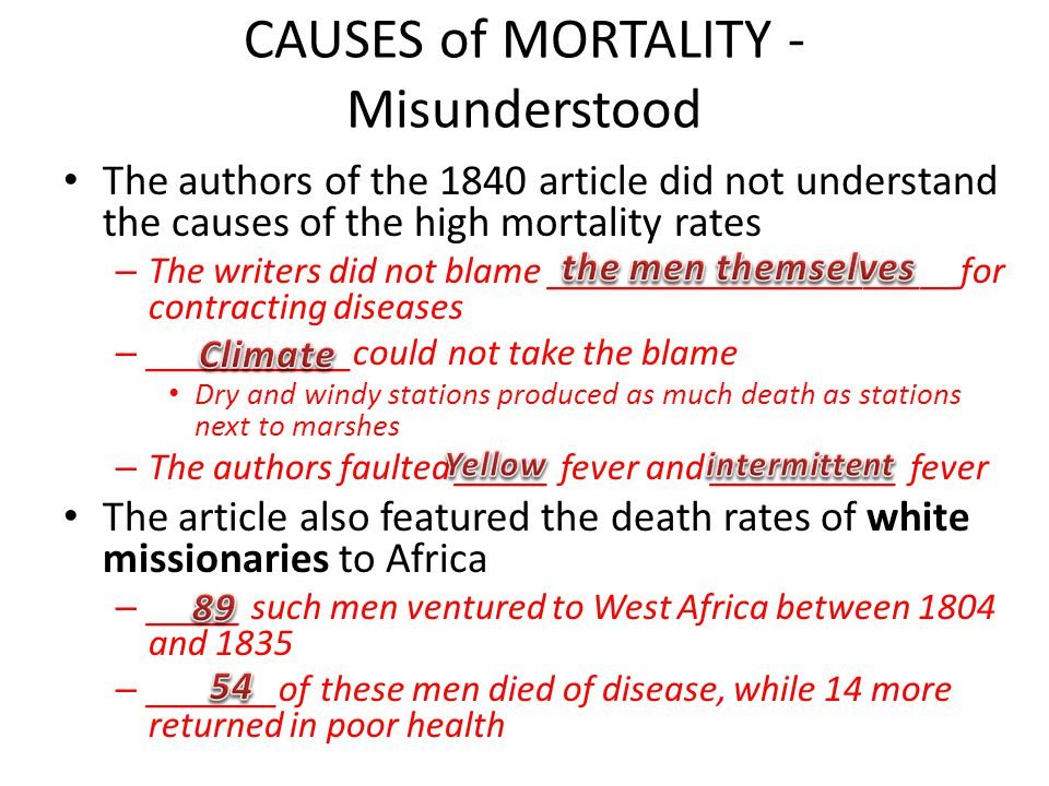 CAUSES of MORTALITY - Misunderstood The authors of the 1840 article did not understand the causes of the high mortality rates – The writers did not bl