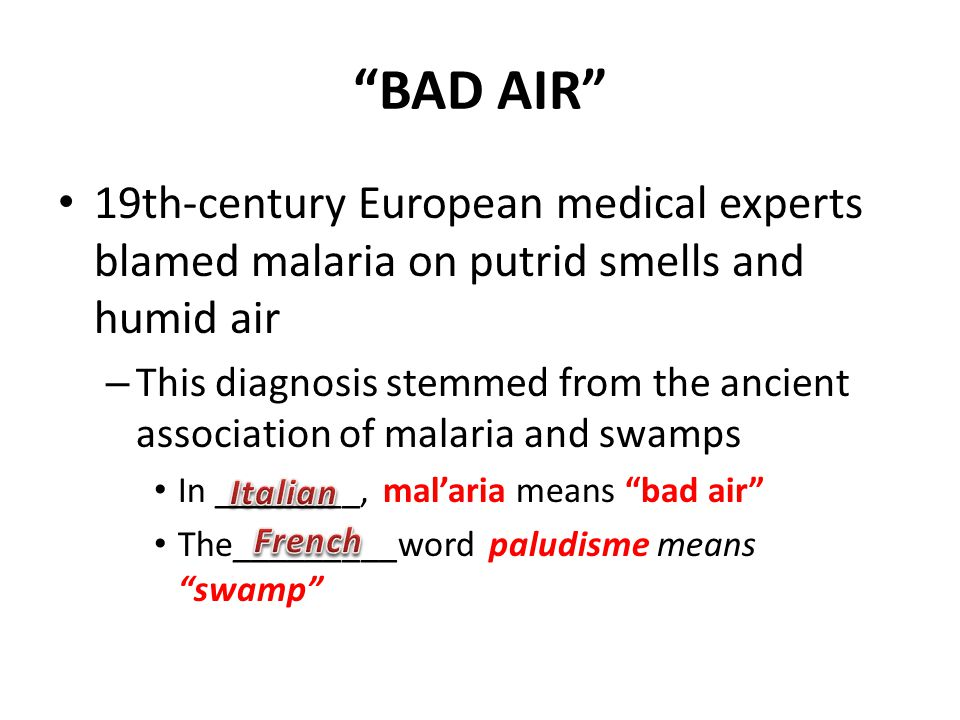 """BAD AIR"" 19th-century European medical experts blamed malaria on putrid smells and humid air – This diagnosis stemmed from the ancient association of"
