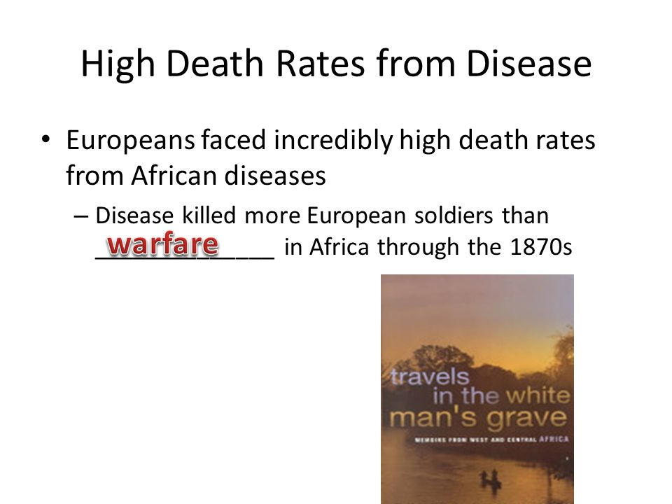 High Death Rates from Disease Europeans faced incredibly high death rates from African diseases – Disease killed more European soldiers than ______________ in Africa through the 1870s