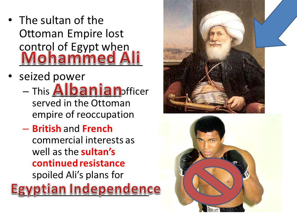 The sultan of the Ottoman Empire lost control of Egypt when ____________________ seized power – This _____________officer served in the Ottoman empire of reoccupation – British and French commercial interests as well as the sultan's continued resistance spoiled Ali's plans for _____________________