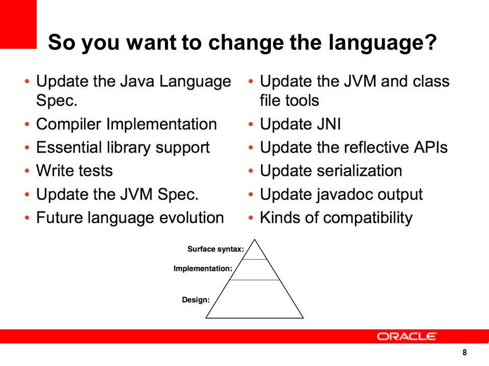 49 Languages Like Virtual Machines Programming languages need runtime support Memory management / Garbage collection Concurrency control Security Reflection Debugging integration Standard libraries Compiler writers have to build these from scratch Targeting a VM allows reuse of infrastructure