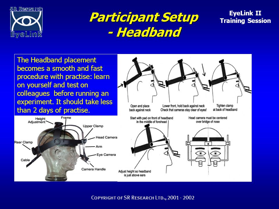 EyeLink II Training Session Copyright of SR Research Ltd., 2001 - 2002 Participant Setup - Headband The Headband placement becomes a smooth and fast p