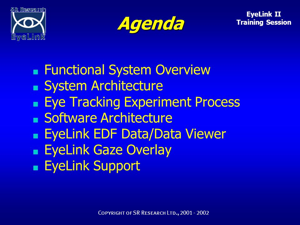 EyeLink II Training Session Copyright of SR Research Ltd., 2001 - 2002 Binocular / Monocular 250 / 500Hz Corneal Reflection vs.