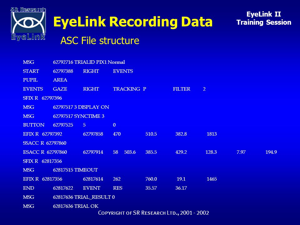 EyeLink II Training Session Copyright of SR Research Ltd., 2001 - 2002 MSG62792716 TRIALID PIX1 Normal START62797388 RIGHTEVENTS PUPILAREA EVENTSGAZER