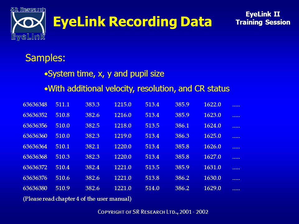 EyeLink II Training Session Copyright of SR Research Ltd., 2001 - 2002 EyeLink Recording Data 63636348 511.1 383.3 1215.0 513.4 385.9 1622.0.....