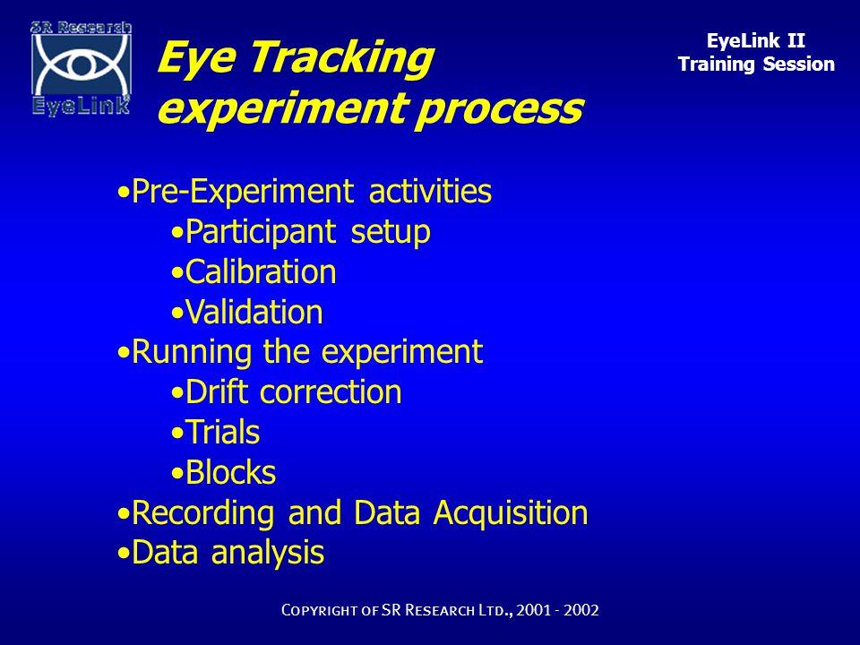 EyeLink II Training Session Copyright of SR Research Ltd., 2001 - 2002 Experiment Setup Calibration Good poor