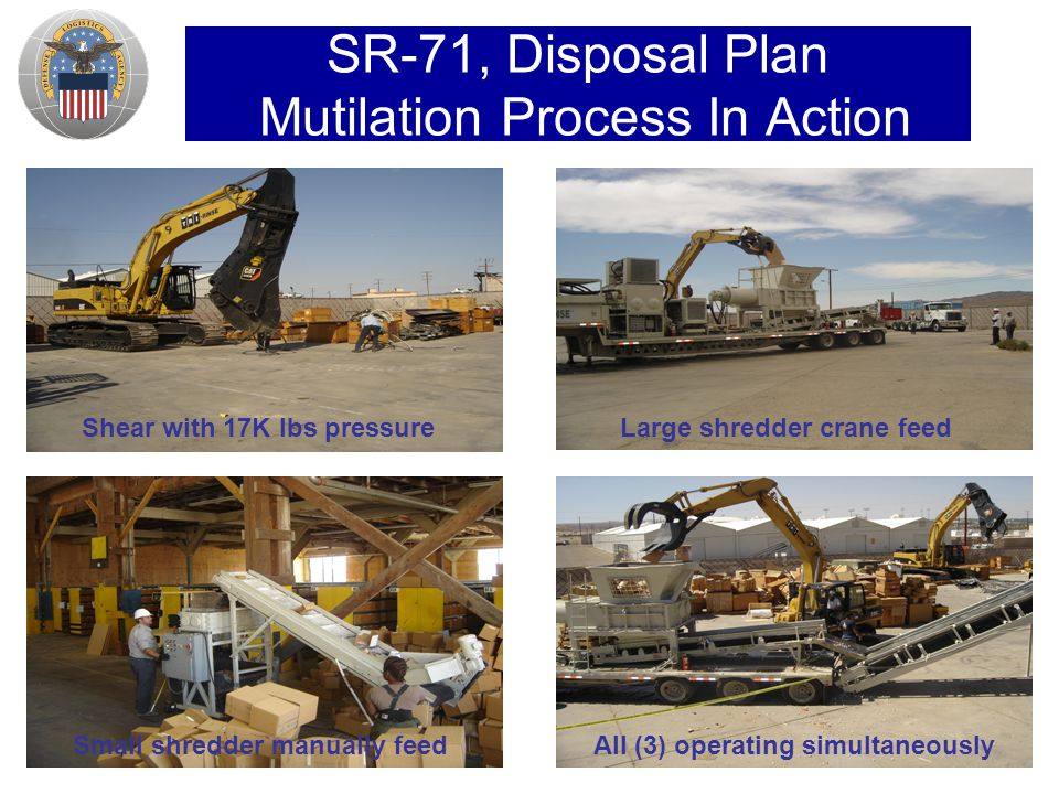 SR-71, Disposal Plan Mutilation Process In Action Shear with 17K lbs pressureLarge shredder crane feed Small shredder manually feedAll (3) operating simultaneously
