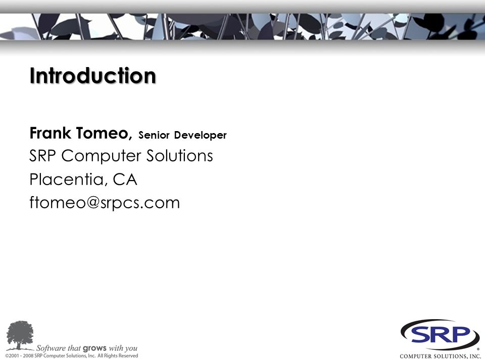Introduction Frank Tomeo, Senior Developer SRP Computer Solutions Placentia, CA ftomeo@srpcs.com