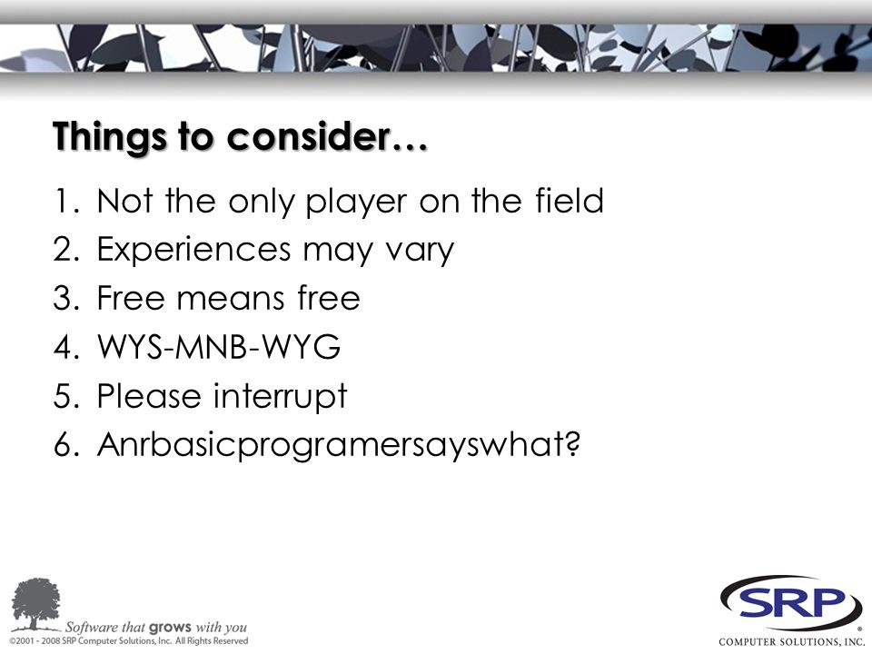 Things to consider… 1.Not the only player on the field 2.Experiences may vary 3.Free means free 4.WYS-MNB-WYG 5.Please interrupt 6.Anrbasicprogramersayswhat