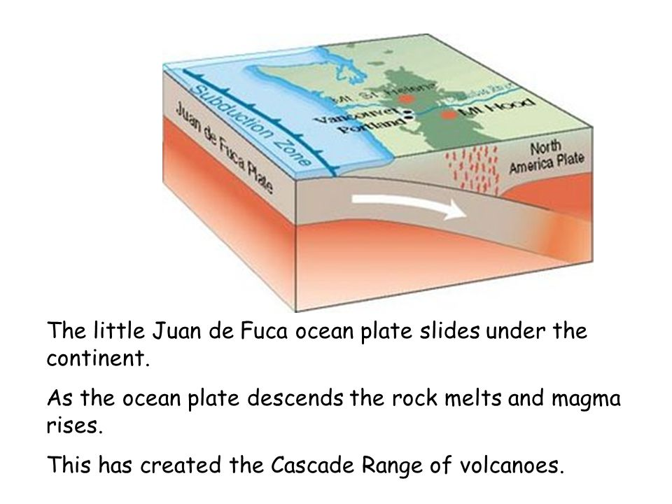 The little Juan de Fuca ocean plate slides under the continent.
