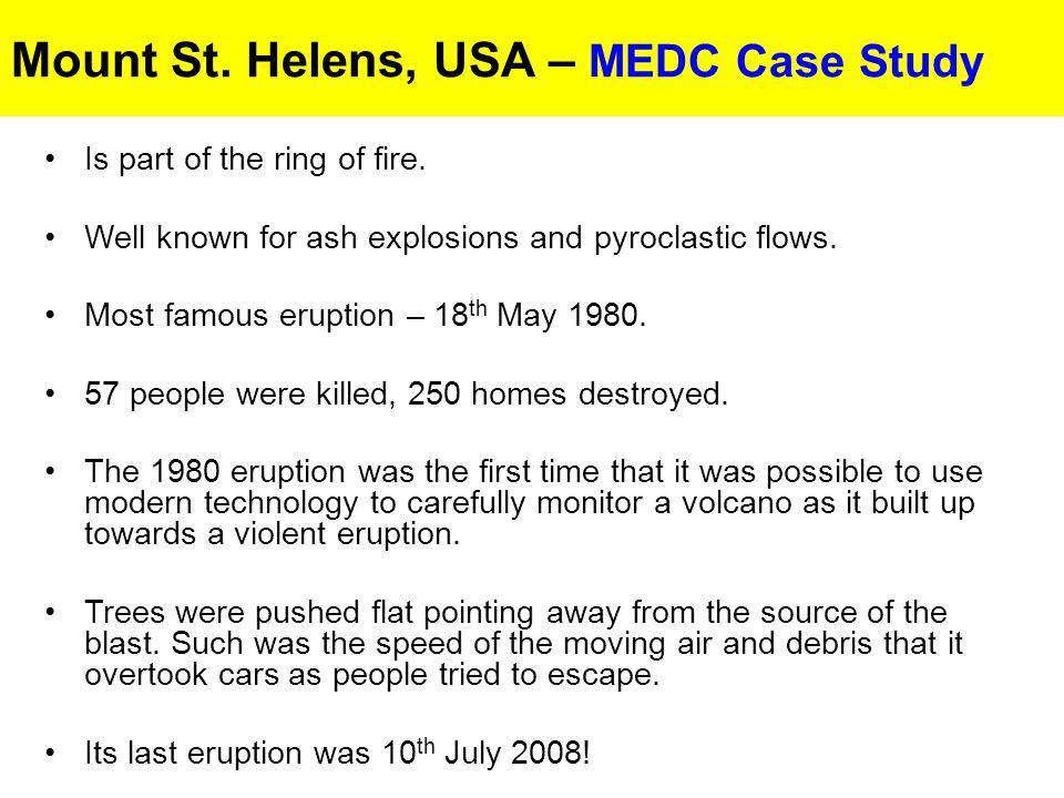 Volcanic Eruptions MEDC Case Study - Mount St.Helens, USA