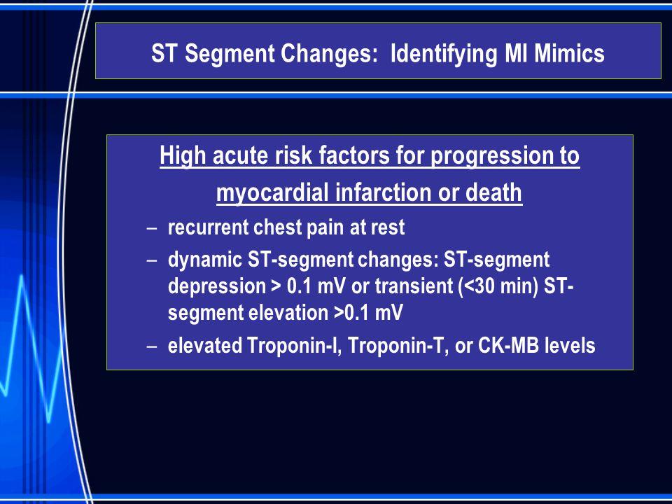 High acute risk factors for progression to myocardial infarction or death – recurrent chest pain at rest – dynamic ST-segment changes: ST-segment depr