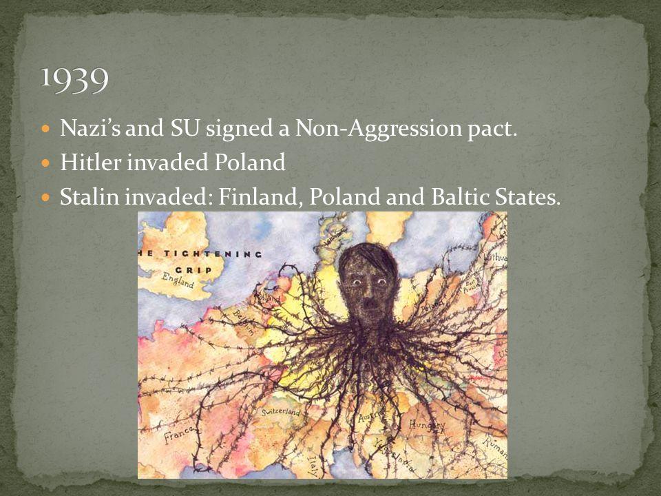 Nazi's and SU signed a Non-Aggression pact.