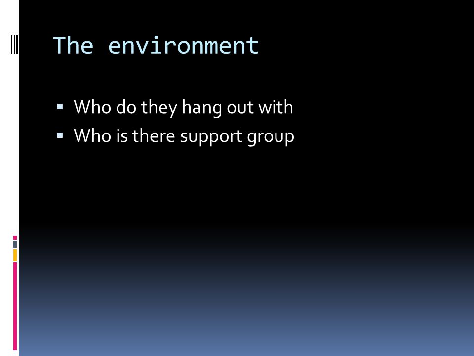 The environment  Who do they hang out with  Who is there support group